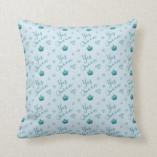 Yas Queen!  Crown and Diamond Patter Throw Pillow