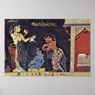 Yashoda Bathing The Child Krishna, Bhagavata-Pura Poster