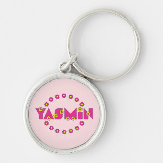 Yasmin in Flores Pink Silver-Colored Round Keychain