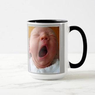 yawning baby with funny quote mug