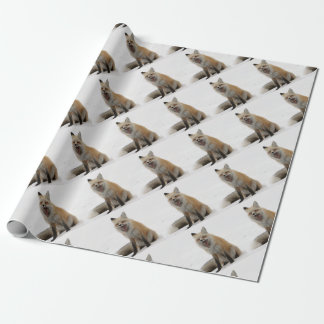 yawning fox wrapping paper, woodland gift wrap