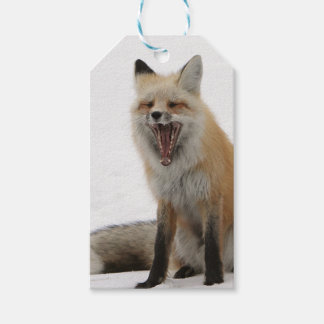 yawning fox wrapping paper, woodland gift wrap pack of gift tags