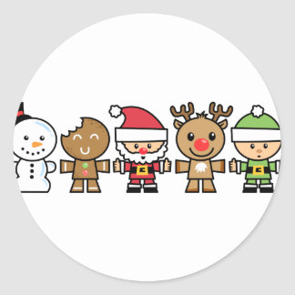 Yay For Color Five Xmas Characters Round Sticker
