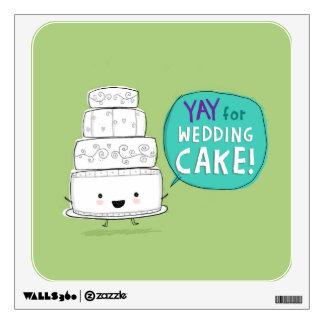 YAY for Wedding Cake! Fun Kawaii Talking Cake Wall Sticker