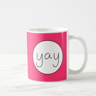YAY Happy Uplifting Handwriting Text Magenta Basic White Mug