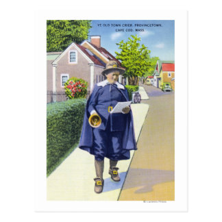 Ye Old Town Crier Ringing Bell Postcard