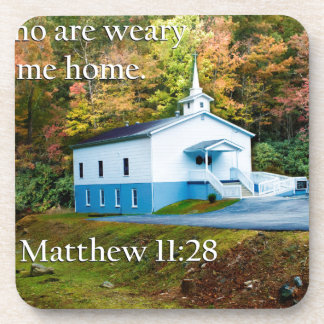 ye who are weary come home beverage coasters