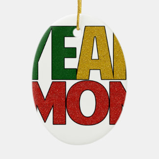 Yeah Mon Jamaican Vacation Ceramic Oval Ornament