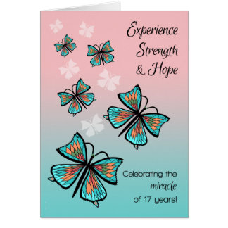 Year 17 Clean and Sober 12 Step Birthday Butterfly Card