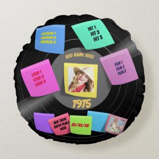 Year Born 60s 70s Photo Retro Vinyl Record Custom Round Pillow