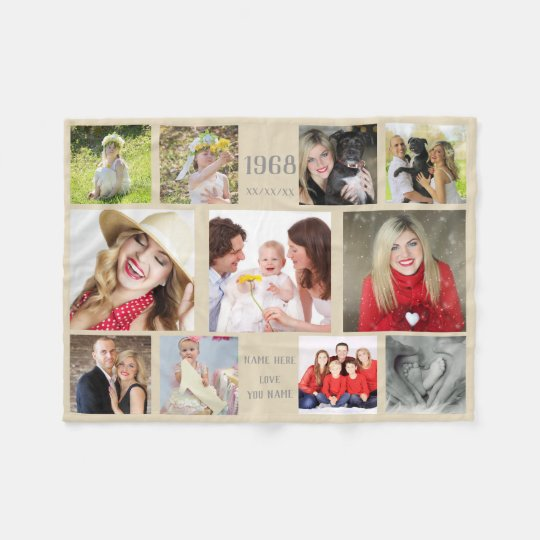 Year Born Photo Collage Instagram Personalized ANY Fleece Blanket