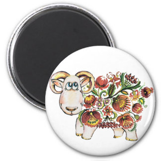 Year of a sheep - Ukrainian Petrykivsky Painting Magnet