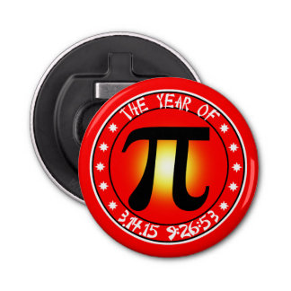 Year of Pi  3/14/15 9:26:53 Button Bottle Opener