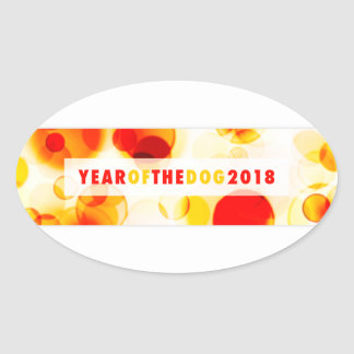 Year of the Dog 2018 Bokeh Banner Oval Sticker
