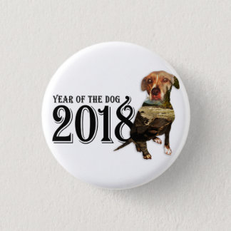 Year of the Dog 2018 Double Exposure 1 Inch Round Button