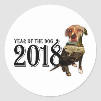 Year of the Dog 2018 Double Exposure Classic Round Sticker