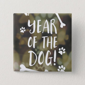Year of the Dog Bokeh 2 Inch Square Button