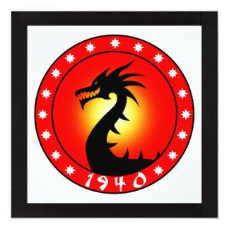 "Year of the Dragon 1940 5.25"" Square Invitation Card"
