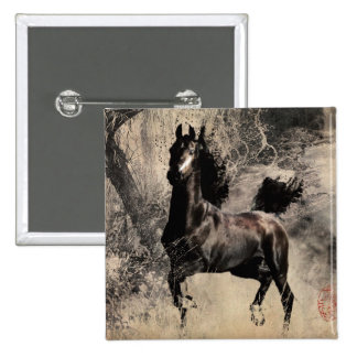 Year of the Horse 2014 - Chinese Painting Art 2 Inch Square Button