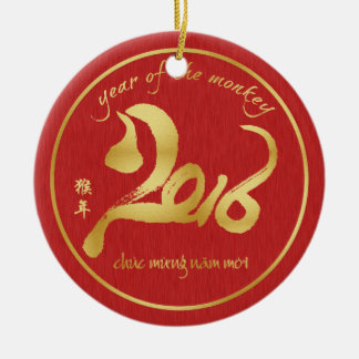 Year of the Monkey 2016 - Veitnamese New Year Tet Round Ceramic Ornament