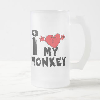 "Year of The Monkey ""I Love My Monkey"" 16 Oz Frosted Glass Beer Mug"