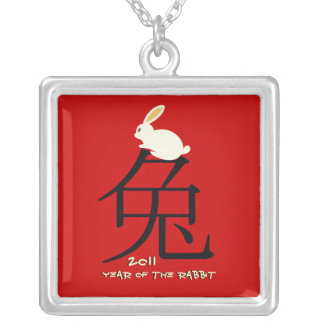Year of the rabbit Chinese New Year silver pendant