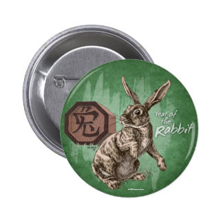 Year of the Rabbit Chinese Zodiac Astrology Pinback Button