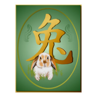 Year Of The Rabbit Oval Poster