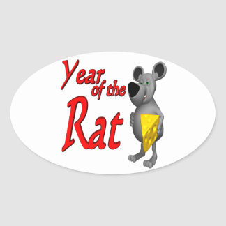 Year Of The Rat Oval Sticker