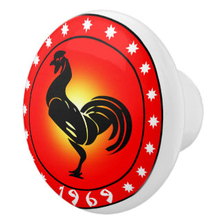 Year of the Rooster 1969 Ceramic Knob