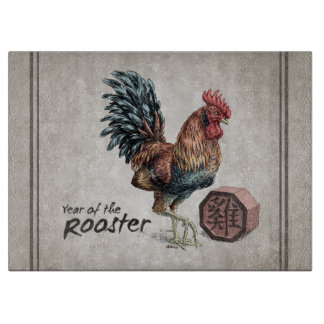 Year of the Rooster Chinese Zodiac Art Cutting Board