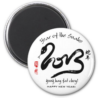 Year of the Snake 2013 - Black and White Magnet