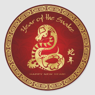 Year of the Snake 2013 - Happy Chinese New Year Round Sticker