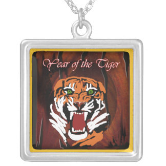 year of the tiger silver plated necklace