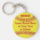 YEAR, Team Name, Text BULK Softball Gifts Basic Round Button Keychain