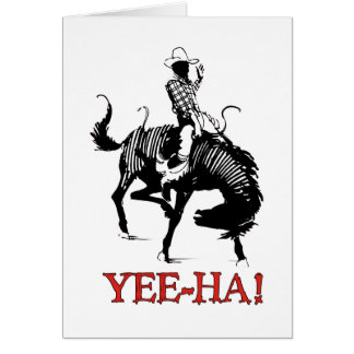 Yee-Ha! Rodeo cowboy on bucking horse stallion Card