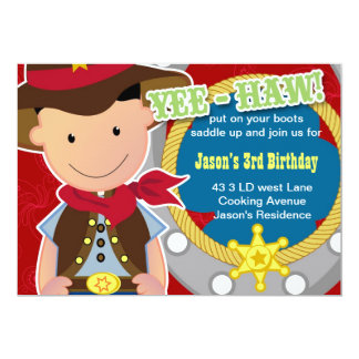 Yee Haw Cowboy Birthday Invitation