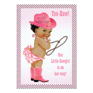 Yee-Haw! Ethnic Little Cowgirl Baby Shower 5x7 Paper Invitation Card