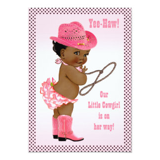 Yee-Haw! Little Ethnic Cowgirl Baby Shower 5x7 Paper Invitation Card