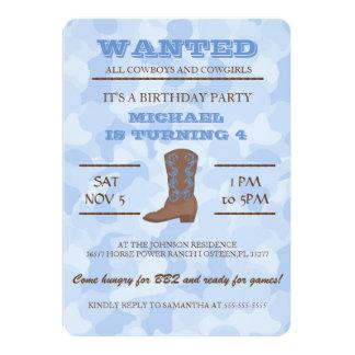 YEEHAW! Blue Cowboy Birthday Party Invitation