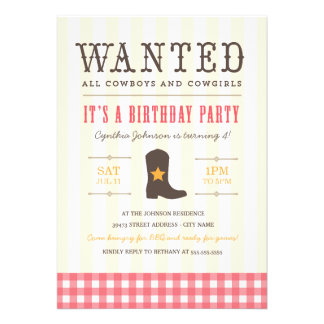 Yeehaw Cowgirl Birthday Party Invitation