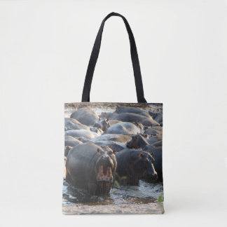 Yelling Hippo Tote Bag