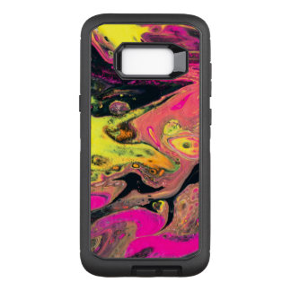 Yelllow and Pink Acrylic Pour OtterBox Defender Samsung Galaxy S8+ Case
