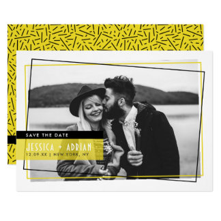 Yello & Black Abstract Frame Photo Save The Date Card