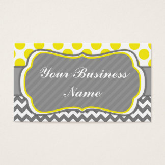 Yello, Grey,  Polka Dots and Chevron Business Card