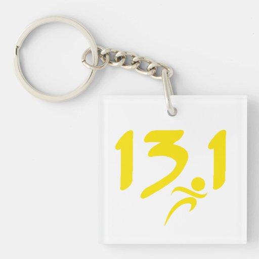 Yellow 13.1 half-marathon acrylic keychains