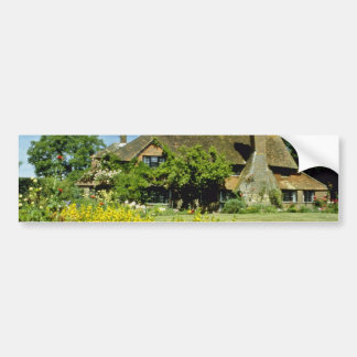 yellow 15th Century House, Framed By Weeping Willo Bumper Sticker
