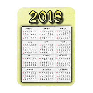 Yellow 2018 Calendar Magnet