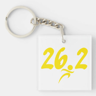 Yellow 26.2 marathon acrylic keychains