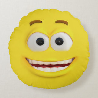 Yellow 3D Effect Emojis Happy and Angry Round Pillow